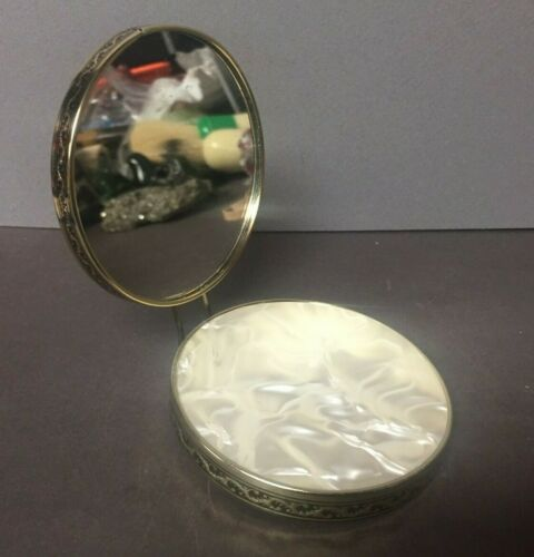 VINTAGE Faux Mother of Pearl Stow Away Mirror Make Up Travel Compact