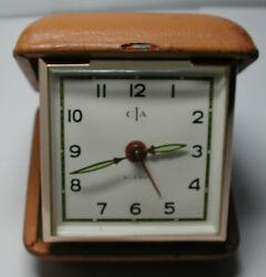Antique Vintage CIA Travel Alarm Clock in Travelling Hard Case