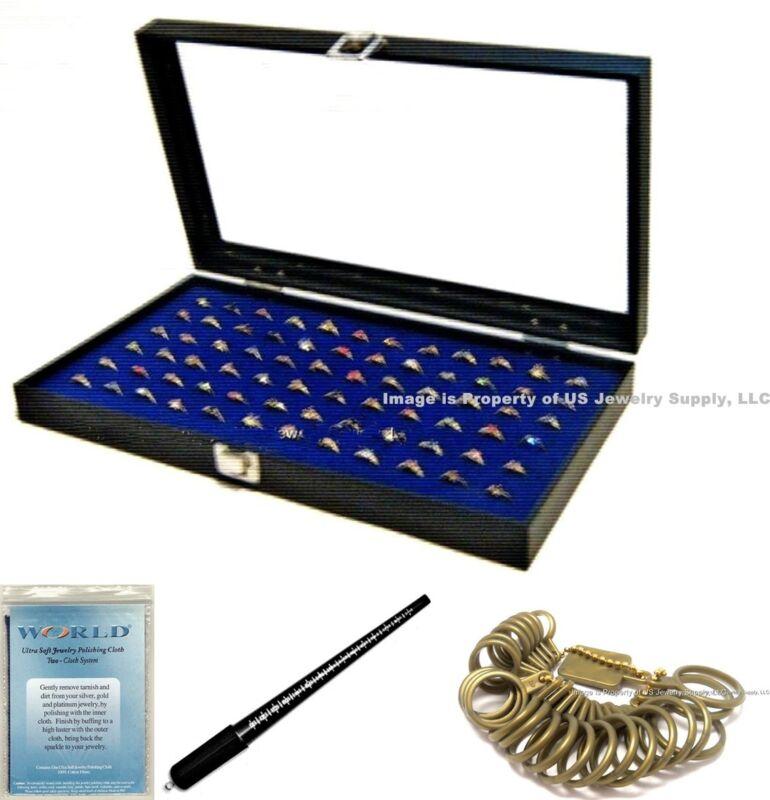 Glass Top Lid 72 Ring Blue Jewelry Sales Display Box Storage Case + Bonus Items