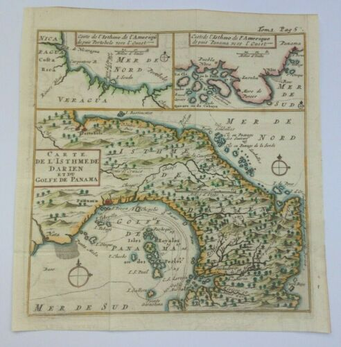 GULF OF PANAMA 1711 UNUSUAL ANTIQUE MAP by DAMPIER 18TH CENTURY
