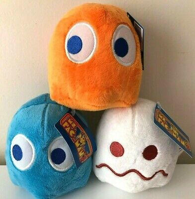 Set of 3 Pac-Man Plush Toys 5 '' each. White, Orange, Blue. Licensed. New Ghosts