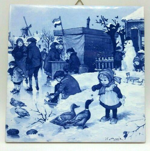 Vintage Blue Delft Winter Village Hand Painted Holland Dutch Ceramic Tile 6x6