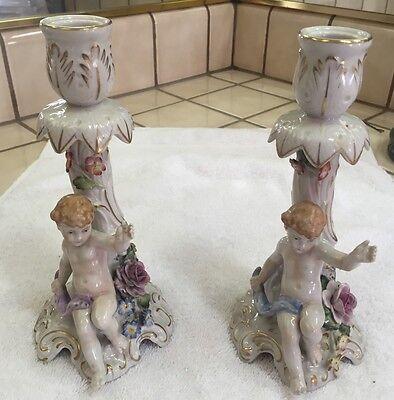 Antique Vintage Von Schierholz Porcelain Handmade Candlestick Holders!!!!! RARE