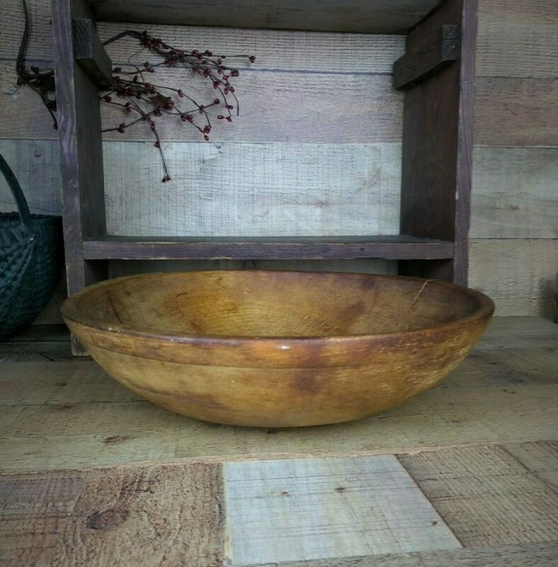Large Antique Wooden Dough Bowl with Rim Band