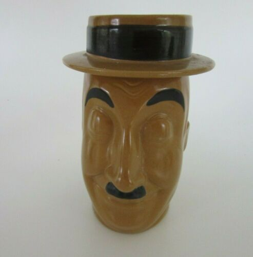 Stangl Pottery Stoby Mug Henpeck # 1680 Hand Painted With Ashtray Hat, Made 1974