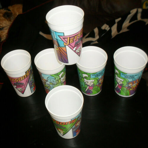 """6 Vintage Wendys Promo Cups """"Jetsons The Movie"""" Collector Plastic Cups"""