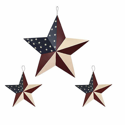 July of 4th Americana Patriotic Wall Decor American Flag Metal 3D Star Set Of - 4th July Decorations