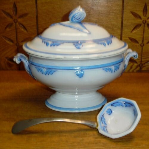 Antique Miniature Blue & White Pottery Tureen w/ Ladle - Hairline In Lid