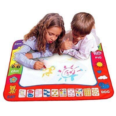 Kids Toy Water Drawing Writing Painting Mat Board 2 Magic Pens Doodle Mat Aqua