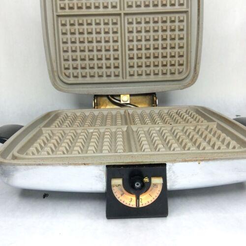 Sunbeam CG-1 Vintage Waffle Iron Baker Griddle Chrome Mid-Century No Inserts
