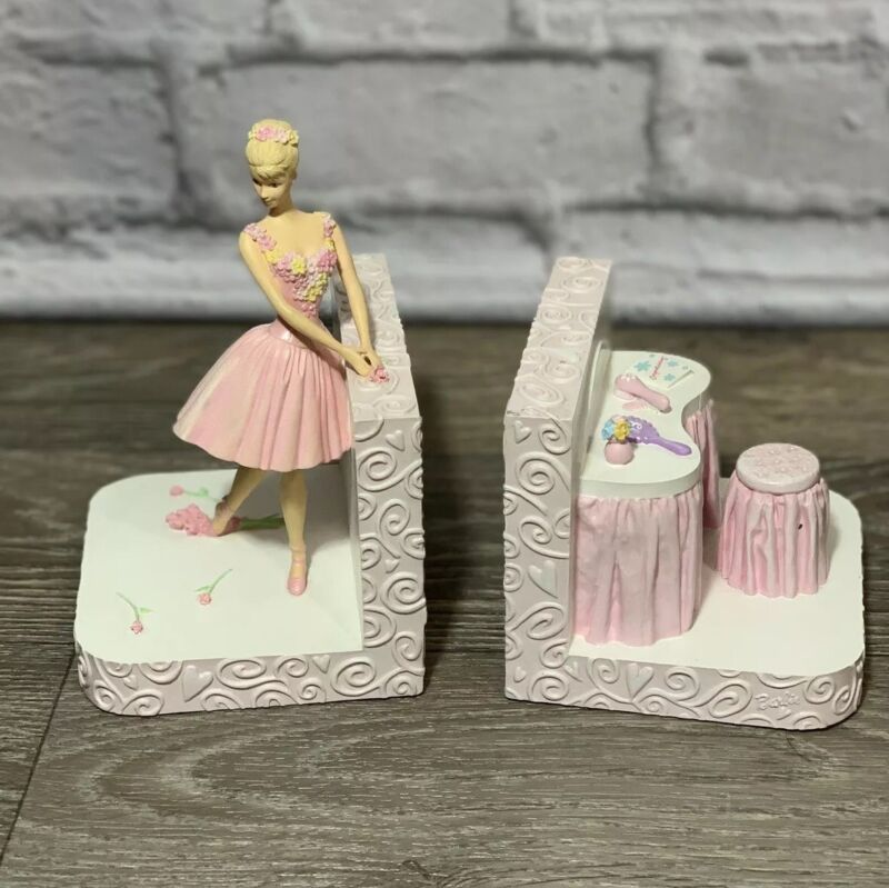 Rare Vintage 2000 Michel & Company Barbie Pink Ballerina Bookends Mattel EUC!