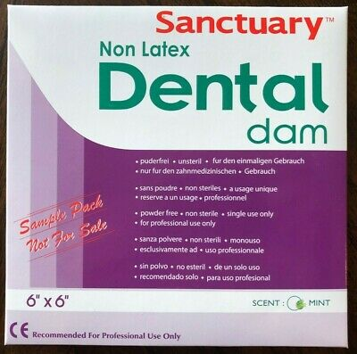 Free Sample Pack 3pk Non Latex Sanctuary Dental Rubber Dam 6x6 Medium Mint