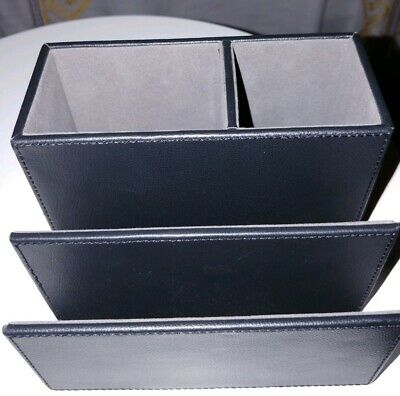Staples All In One Desk Organizer Faux Leather Black Brand New With Tags Office