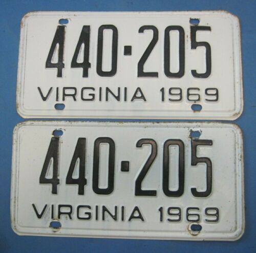 Matched Pair 1969 Virginia License Plates with 440 number Plymouth Dodge Mopar