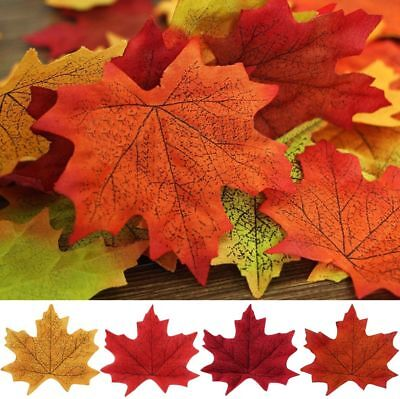 100pcs Fall Silk Leaves Wedding Favor Autumn Maple Leaf Decorations Ornament