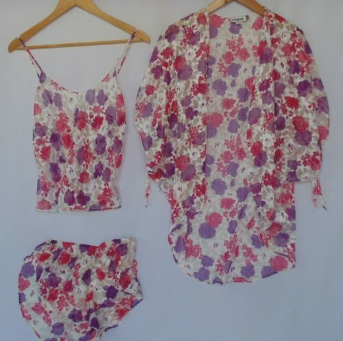 BLANCHE Vtg 3 pc Lingerie Set Sheer Camisole w/Cover Pink Purple White Print