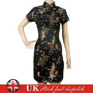Chinese Dress Short Mini Vintage Evening Party Fancy Qipao Cheongsam UK Stock