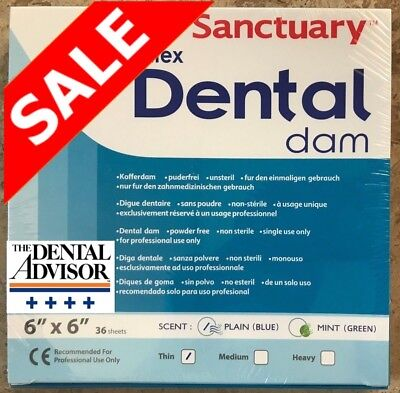 Sanctuary Dental Rubber Dam Latex 6x6 Thin 36pk Blue Sheet Quality Guaranteed