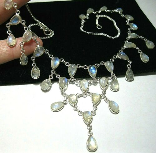 Vintage Style Edwardian Sterling Silver Rainbow Moonstone Statement Necklace