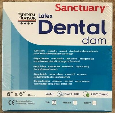 Sanctuary Dental Rubber Dam Latex 6x6 Thin 36pk Blue -------quality Guarantee