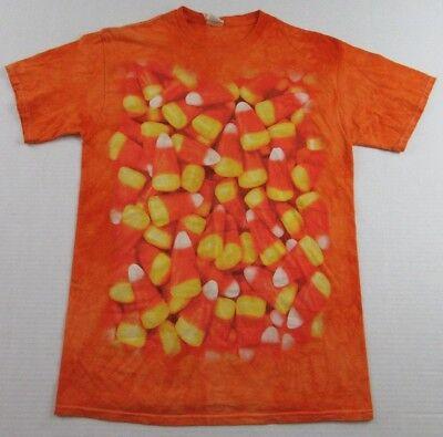 Cupid Corn Halloween Treat Tie Dye SS Orange T Shirt Size M (Cupid Halloween)