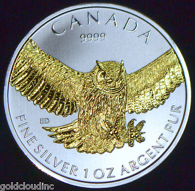 2015 CANADIAN BIRDS OF PREY GREAT HORNED OWL 1 OZ SILVER COIN 24K GOLD GILDED