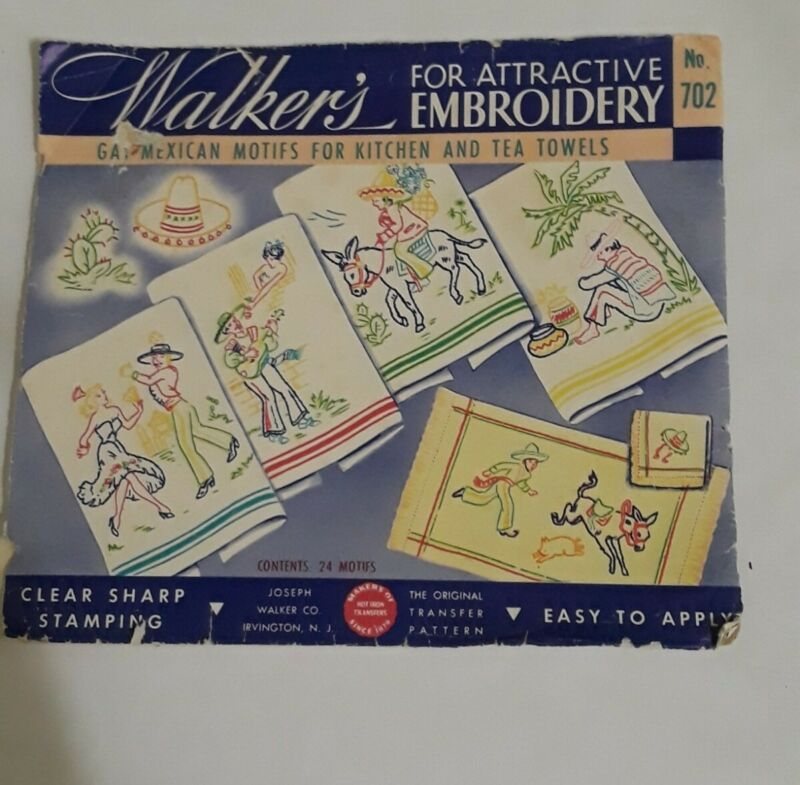VTG Walkers iron on transfer 702  Gay Mexican Motifs for Kitchen or Tea Towels