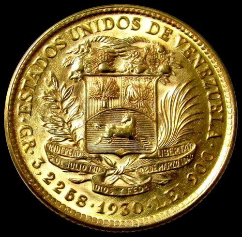 "1930 GOLD VENEZUELA 10 BOLIVARES COIN ""SIMON BOLIVAR"" CHOICE MINT STATE"