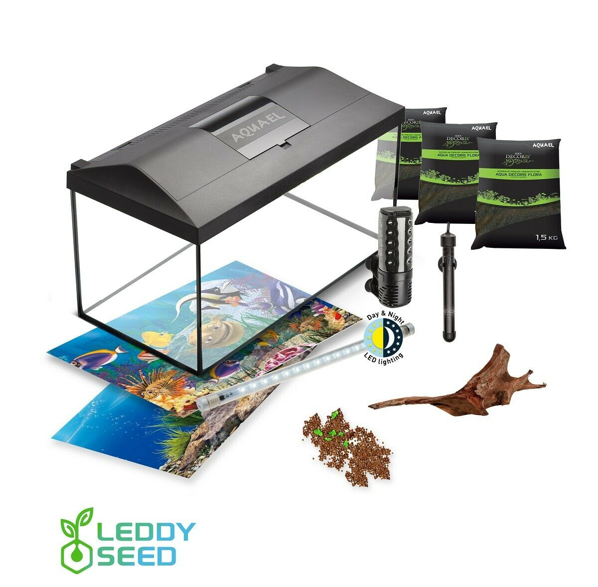 AQUAEL Aquarium Set LEDDY LED DAY&NIGHT SEED komplett inkl. Abdeckung, Filter...