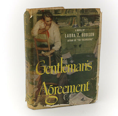 Laura Z Hobson Gentlemans Agreement Simon   Schuster  1947  1St Ed Sign Dj