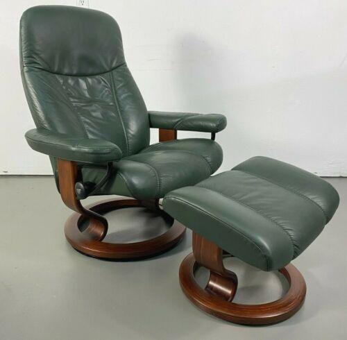 "Ekornes Stressless Leather Adjustable Recliner Chair Medium ""Consul"" Model"