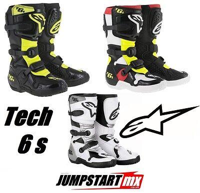Alpinestars Tech 6s youths motocross boots white black red neon yellow Alpinestars Tech 6s Youth Boots