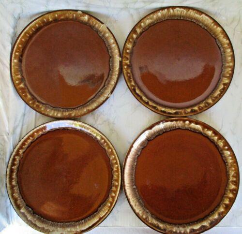4 Vintage Glazed Brown Drip Dinner Plates A