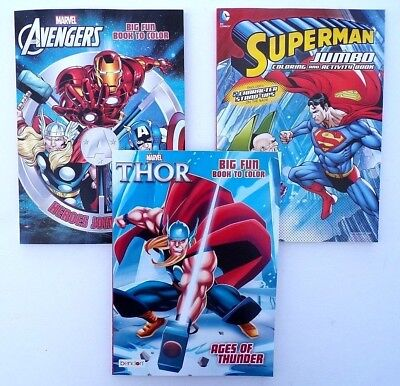 Children's Coloring Books (Lot of 3 Jumbo Coloring Books THOR, SUPERMAN, and AVENGERS for Children,)