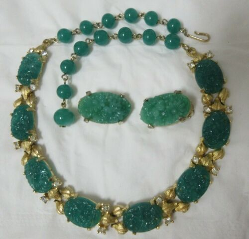 Vintage Gold Tone Faux Carved Jade & Rhinestone Necklace & Married Earrings