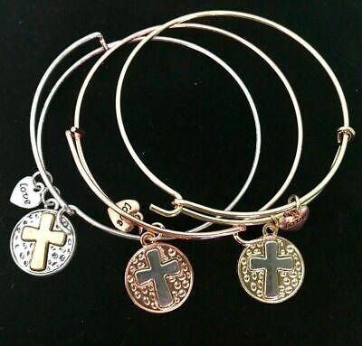 3 Bracelet Set~Tri-Color Gold Bangles w/ CROSS Charm & Love Heart GIFT OF FAITH!