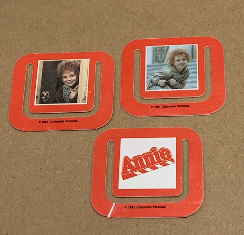 Set of 3 Vintage Annie Bookmarks Movie Promo Aileen Quinn 1981 Columbia Pictures