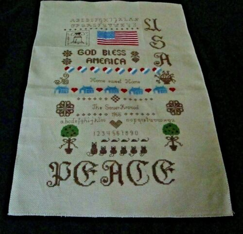 Finished Completed Vintage Aida Counted Cross Stitch USA GOD BLESS AMERICA