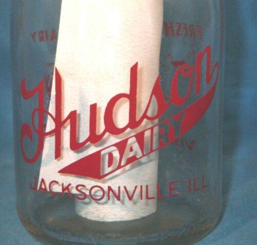 Vintage Milk Bottle Hudson Dairy Farm Jacksonville IL MORGAN COUNTY