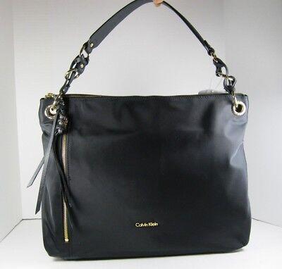 Calvin Klein $178 NEW Black Nylon Hobo Tote Shoulder Bag Front Zip Pocket Calvin Klein Hobo Bag