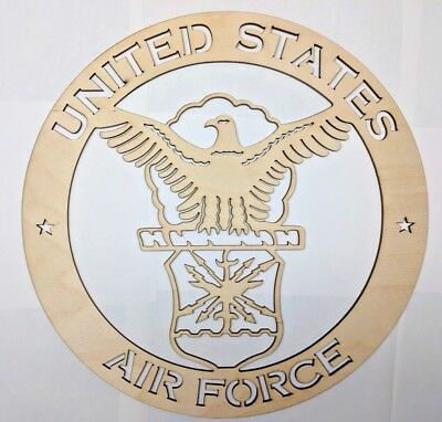 AIR FORCE wall art Laser cut sign gift idea Unfinished Wood Crafts Supplies   - Unfinished Wood Signs