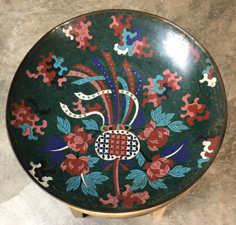"""Fantastic Japanese Meiji Period (1880s) Abstract 12"""" Cloisonné Charger Platter"""