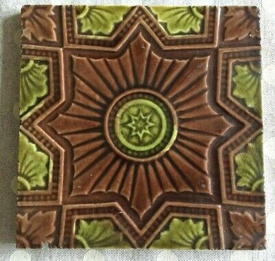 VICTORIAN TILE BROWN & GREEN PATTERN 6