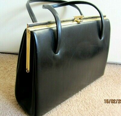 VINTAGE 1960S BLACK LEATHER KELLY BAG SUEDE LINED SNAP CLOSURE MADE IN UK