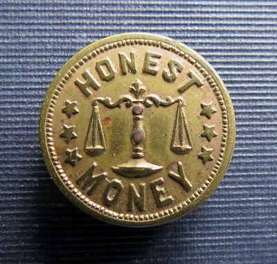 1896 WILLIAM McKINLEY - HONEST MONEY STUD BUTTON - Scales Of Justice