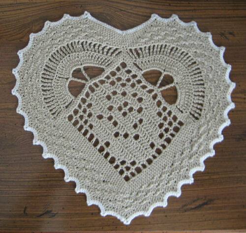 "New Hand Crocheted Doily Rose Heart 8"" x7.5"" Color taupe/khaki & white Handmade"
