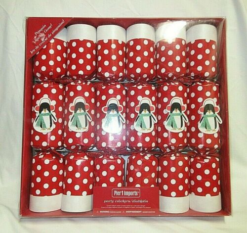Pier 1 Christmas Party Crackers Set of 6 Red White Polka Dots W/Penguin NEW