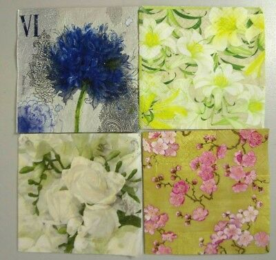 Lot of 8 Paper Napkin For Decoupage 10 x 10 Flowers