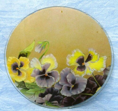 Vintage Flue Cover Flowers Round Glass no frame 7.75in