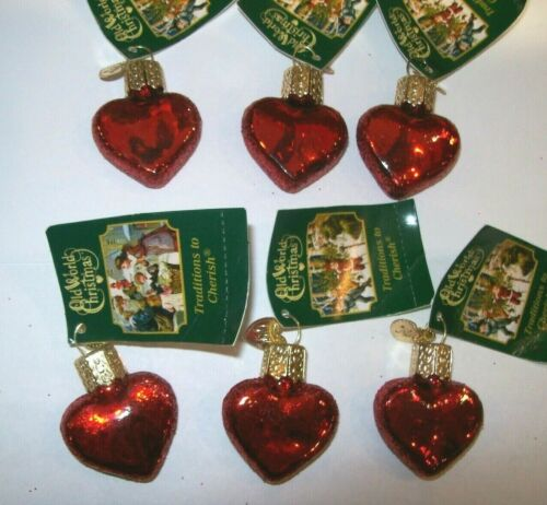 Old World Christmas SMALL RED HEARTS (Set of 6) (30010)X Glass Ornament Set
